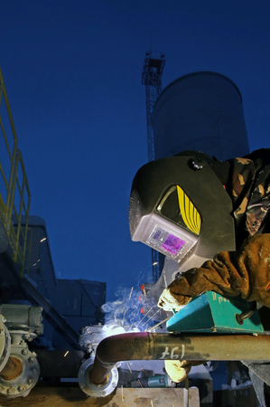 Welding work on the construction of an industrial enterprise