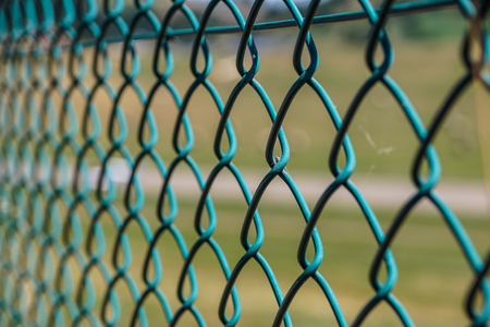 wire fence: wire mesh fence Stock Photo
