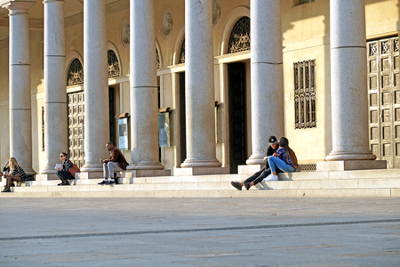 june 25: An unidentified man sleeping on June 25, 2014 in Milan
