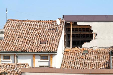 damaged: damaged house after earthquake