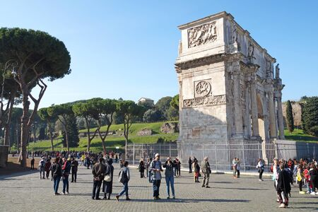 commemorate: Rome Italy 15 November 2015 :Arch of Constantine, Rome, Italy. Built to commemorate the emperors victory over his rival Maxentius in AD 312. Editorial