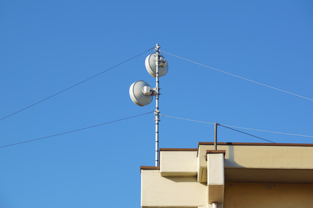 mobile communication: mobile phone communication repeater antenna Stock Photo