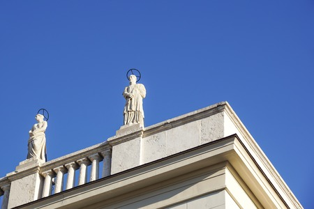 generic statues for decoration on the balcony with the blue sky background