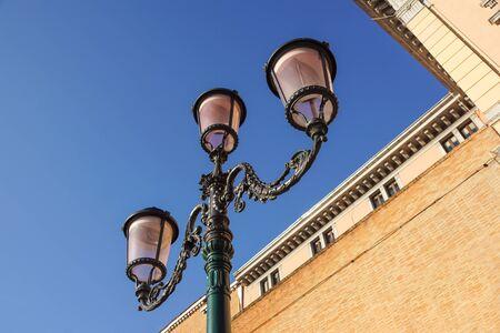 retro vintage street lamp isolated on sky background
