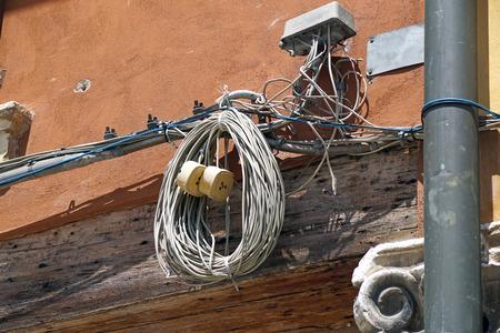 telephone poles: urban telephone cables Stock Photo