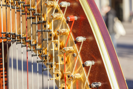 Part of musical instrument called harp in abstract background .