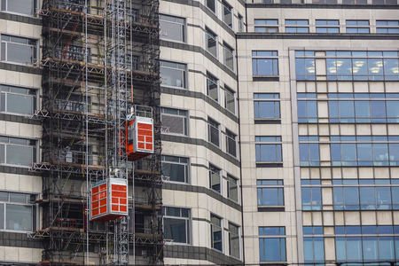 hoists: external hoists used in building construction to bring work materials