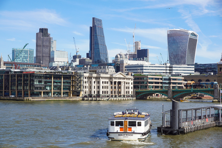 LONDON ENGLAND 10 APRIL 2017 : City of London one of the leading centres of global finance.This view includes Tower 42 Gherkin,Willis Building, Stock Exchange Tower and Lloyd`s of London .