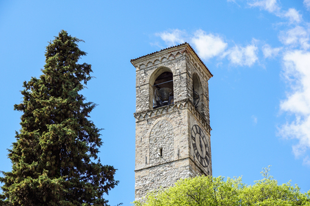 Bell Tower at medieval c churc chapel Hill . Stock Photo