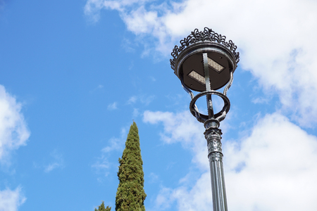Poles led. Street light against the blue sky with clouds. copy space