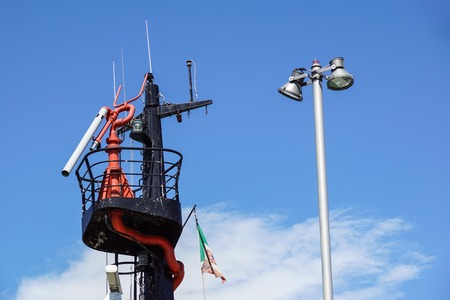 motor launch: rescue boat detail device for launching and lifting boat from water Stock Photo