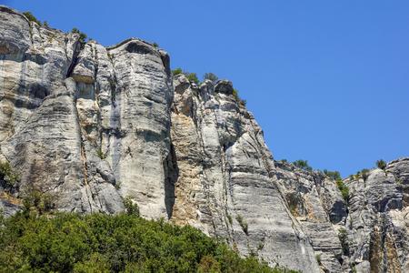 vertical mountain . Rock climbing the steep cliffs of the mountains . Stock Photo