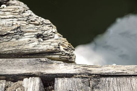 filings: Ends of the rough pine boards in the outdoor stack. Stock Photo
