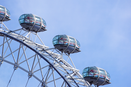 LONDON, UNITED KINGDOM - MAY 6: Detail of London Eye on May 6, 2011 in London, UK. London Eye is the tallest Ferris wheel in Europe at 135 meters