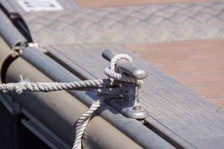 Coiled rope on boats deck