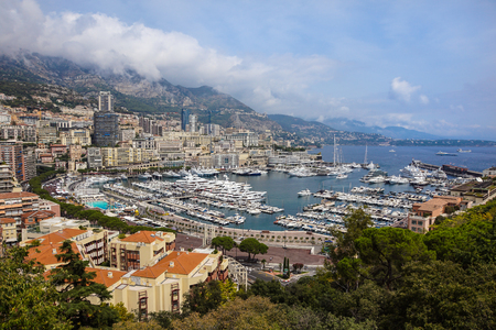 Luxury yachts in the bay of Monaco, France . Фото со стока