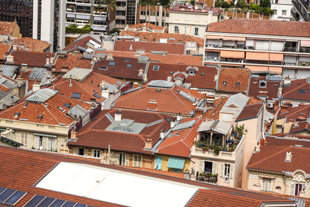 Aerial view of traditional red house roofs at the Montecarlo Town Square, Monaaco Republic .