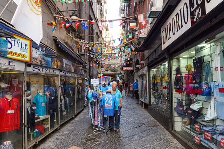 Naples, Italy - August 10 2017: Spanish Quarters (Quartieri Spagnoli) is a part of the city of Naples in Italy. It is a poor area, suffering from high unemployment and strong influence of Camorra ( organized crime ) Editorial