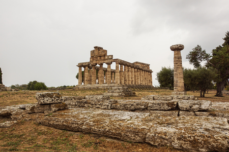 Italy,Cilento, archaeological site of Paestum, the Temple of Athena also known as Cerere Temple