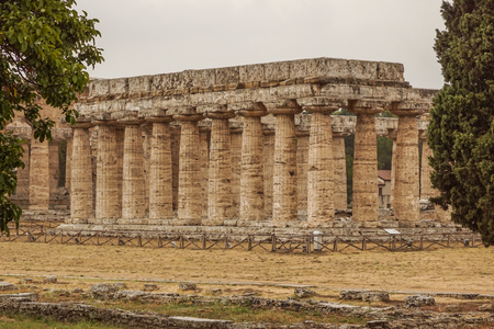 Italy,Cilento, archaeological site of Paestum, the Temple of Athena also known as Cerere Temple Stock Photo - 95363394