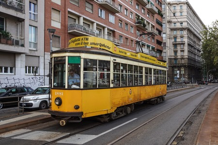 MILAN, ITALY - NOVEMBER 26, 2017 - view of the so-called Jumbo tram , operated by Azienda Trasporti Milanesi, in the centre of Milan Editorial