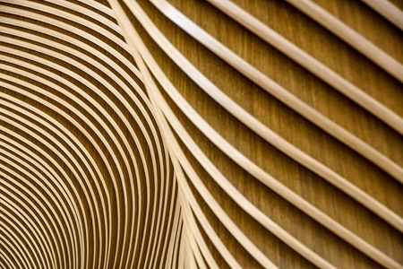 Wooden planks from sustainable sources. Eco-friendly design at its best. Stock Photo