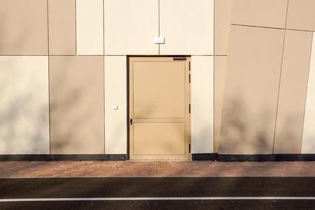 Closed emergency exit door, for quick evacuation Stock Photo