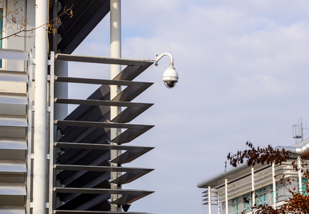 Urban security video camera outdoors at sunset