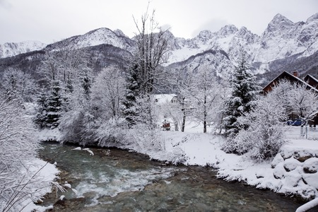 Mountain river in winter landscape. winter day