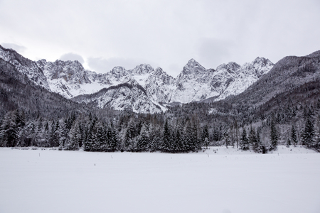 view of snowy mountain peak in a winter days Stock Photo