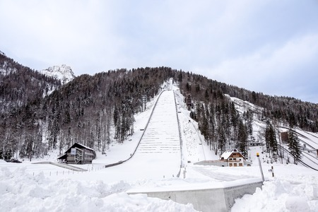 Planica, Slovenia - October 18, 2017 - the construction of Planica Nordic center with ski jumping hills. Planica is famous ski jumping venue with Flying hill of Gori ek brothers .