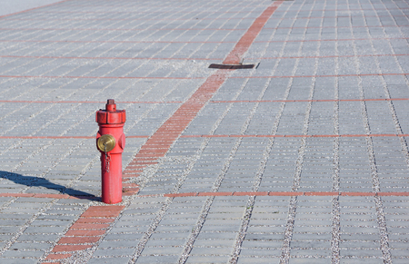 Old red fire hydrant in the street. Fire hidrant for emergency fire access