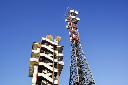 telecommunication tower with the blue sky. Cell Phone Signal Tower, antennas