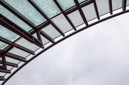 metal shelter . Structure of fabric tensile roof
