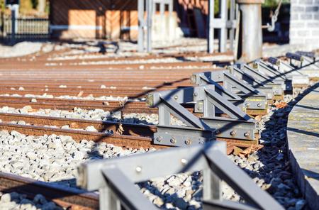 buffer stop . ending rail tracks concept for limit, limitation restriction boundary, prohibited, end , border Reklamní fotografie