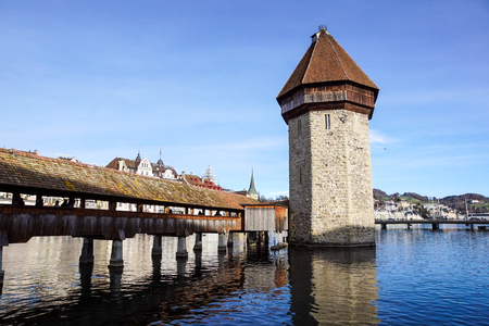 Lucerne, Switzerland -23 December 2017 : buildings of the city along Lake Lucerne. Lucerne is a city in central Switzerland, it is the capital of the Swiss canton of Lucern. Editorial