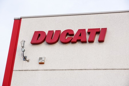 Bologna , Italy 17 June 2018 : close up of the ducati logo located in the production factory of the famous motorcycling brand is the motorcycle-manufacturing italian company. Editorial