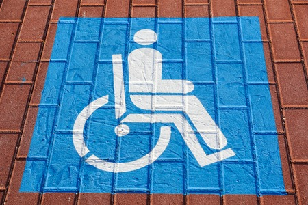 Parking symbol for the disabled in the car park Selective Focus