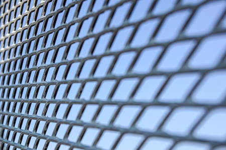 Close up Chain Fence. Metal mesh . Selective Focus
