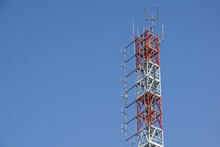 telecommunication TV antennas wireless technology with blue sky in the morning