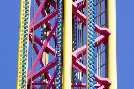 large flying carousel ride machine detail