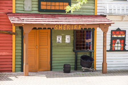 old western ghost town wooden sheriff house