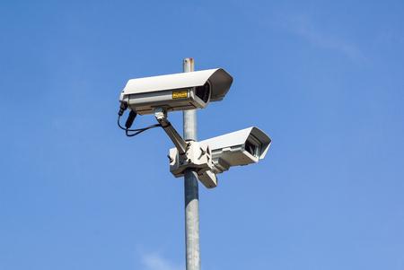 Security camera . Modern CCTV camera on a wall. Concept of surveillance and monitoring. Archivio Fotografico