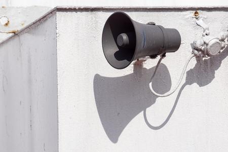 Speaker for external broadcasting . external speakers . megaphone Banco de Imagens