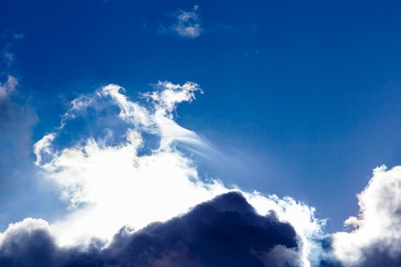 Blue sky and white clouds in the afternoon . Storm Banco de Imagens