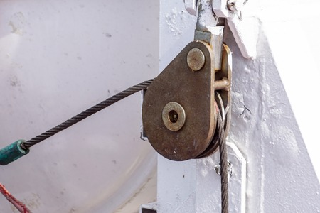 Pulley and rope on a boat. Small detail. Banco de Imagens - 122114151