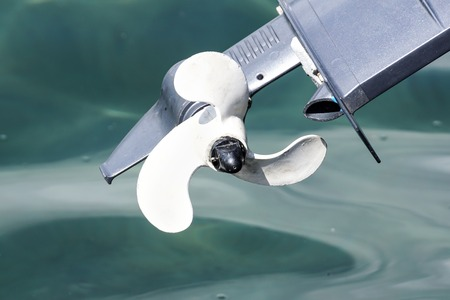 outboard engine propeller on the sea