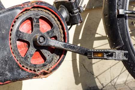 Bicycle pedal . gear and bike chain detail