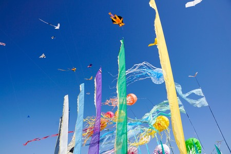 Beautiful kites in a kite festival .blue sky