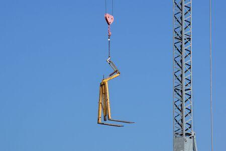 Close up details of a cranes . metal crane used in construction . Banco de Imagens